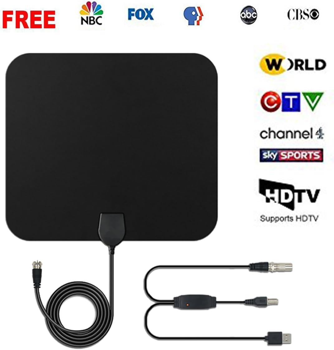 Antena de TV, Antena de TV Digital HD para Interiores con Amplificador de Alcance Largo de 50 Millas HDTV, Amplificador de señal actualizado, versión de 3 m, Cable coaxial (Negro 50): Amazon.es: Electrónica