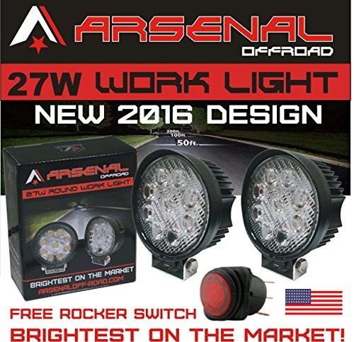 "#1 27w 4"" Round LED Pencil Beam Spot light Arsenal OffroadTM Brightest on the Market! Off Road Trucks Boats 4x4 Jeeps ATV UTV Rhino Razor boats 12volt Combo 2 Pack"