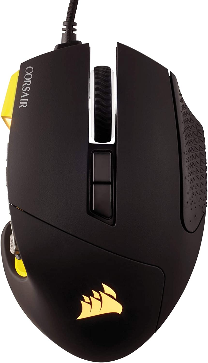 IDS Home Corsair Scimitar RGB PRO Optical MOBA//MMO Gaming Mouse with Exquisite Button Design Yellow