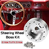 Ruien 1'' Steering Wheel Hub Adapter Conversion Spacer 6 Hole to 3 Hole Steering Wheel Adapter Grant Adapter Boss Kit Silver