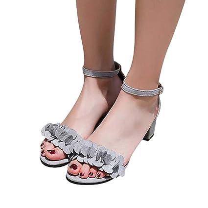 Señoras verano zapatillas, chanclas, zapatos de tacón alto, sandalias y calzado de playa,39,Rosa