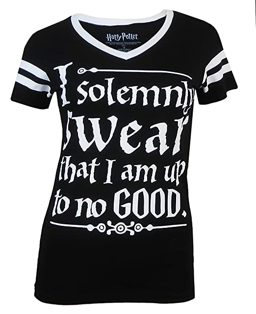 768548510e48 HARRY POTTER Juniors I Solemnly Swear V-Neck Tee at Amazon Women's Clothing  store:
