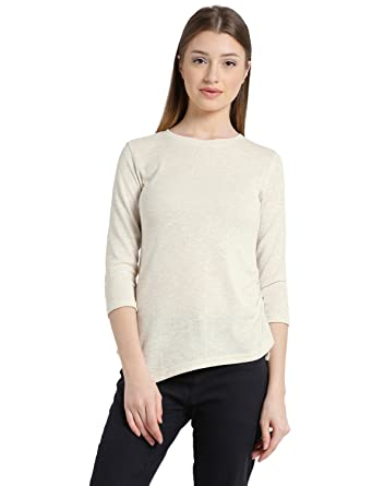 e13b730276 Tops for Women in Western wear - Cotton Blend Material - Solid Pullover  Tshirt for Ladies - Women s Off-White Three Quarter Sleeves Top - Stylish  Tops by ...