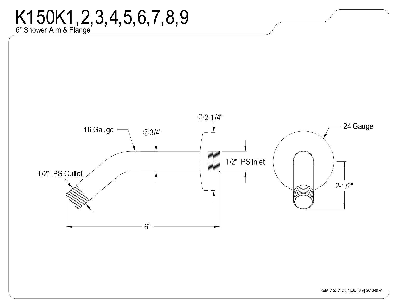 Kingston Brass K150K5 Designer Trimscape Showerscape 6-Inch Shower Arm with Flange, Oil Rubbed Bronze