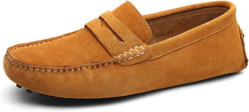 Men Leather Minimalism Driving Loafers Suede Moccasins Slip On Penny New Shoes