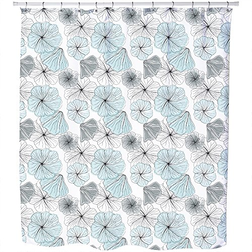Hibiscus Blossoms Aqua Shower Curtain: Large Waterproof Luxurious Bathroom Design Woven Fabric by uneekee