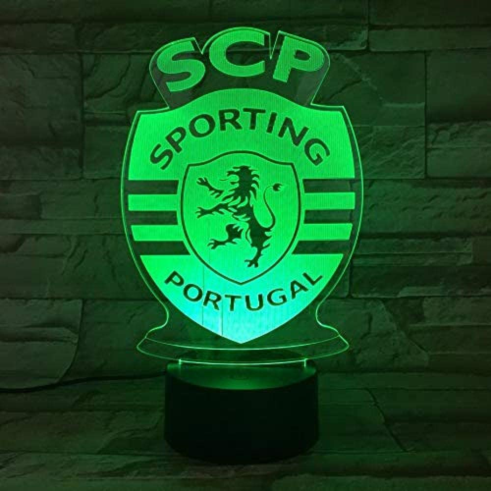 Tianxiawudi Night Lights Led Lisbon Sporting Clube De Portugal Illusion 3d Fc Primeira Liga Football Logo Lamp Bedside Table Bedside Kids Child Amazon Co Uk Kitchen Home
