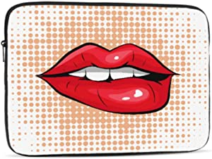 Pop Art Colorful Design Biting Her Red Lips Pattern 10
