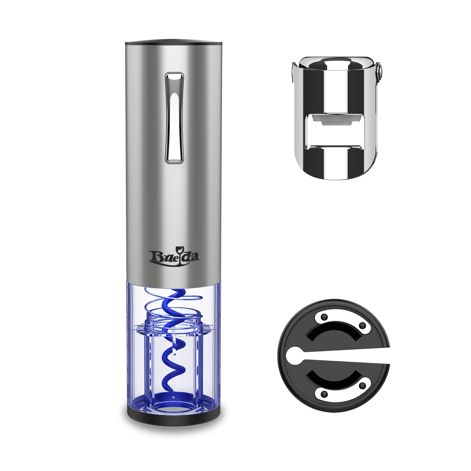 CRMPro Electric Wine Opener, Bottle opener professional, automatically Wine Opener, Stainless Steel Electric Corkscrew, Cordless Wine Bottle Opener Set with Foil Cutter and Rechargeable Lithium Battery, Silver by CRMPRO