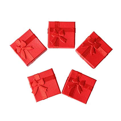 Wa - Cajas cuadradas con lazo para regalar joyería, para guardar anillos,