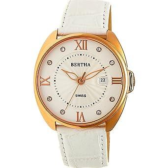 Bertha Amelia Women s Quartz White Genuine Leather Rose Gold Watch w Date  BTHBR6307 79d8b77487