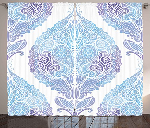 (Ambesonne Eastern Curtains, Traditional Paisley Motifs Pattern Floral Flourishing Ornament Tile Pattern, Living Room Bedroom Window Drapes 2 Panel Set, 108W X 63L inches, Light Blue Purple)