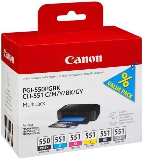 Canon Pgi 550 Cli 551 Pgbk C M Y Bk Gy Druckertinte Multipack Mit 6 Tinten Für Pixma Tintenstrahldrucker Original Bürobedarf Schreibwaren