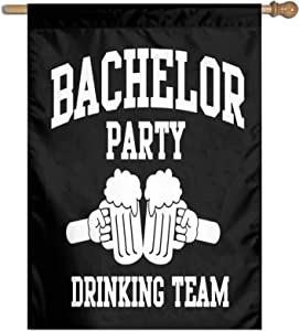 XIOJEIEY Garden Flag Bachelor Party Groom Drinking Team Garden Flag Banner for House Yard Decoration 27 X 37 Inch