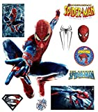 Marvel The Amazing Spiderman Wall Sticker Pack for Comic Fans & Kids. 10 Vinyl Decals for Spider-man Decor of Kids Room by Dekosh