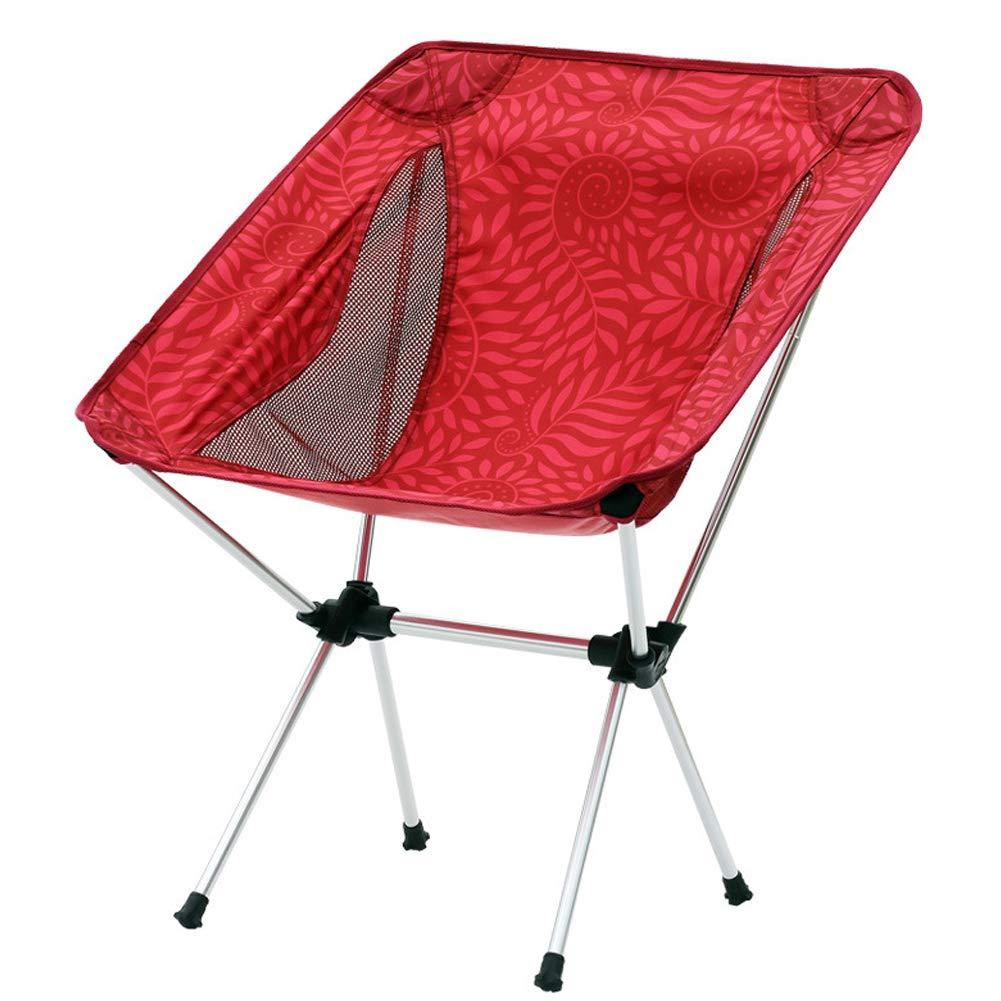 Outdoor Folding Chair Fishing Chair Director Chair Aluminum Chair Casual Beach Chair Portable-red
