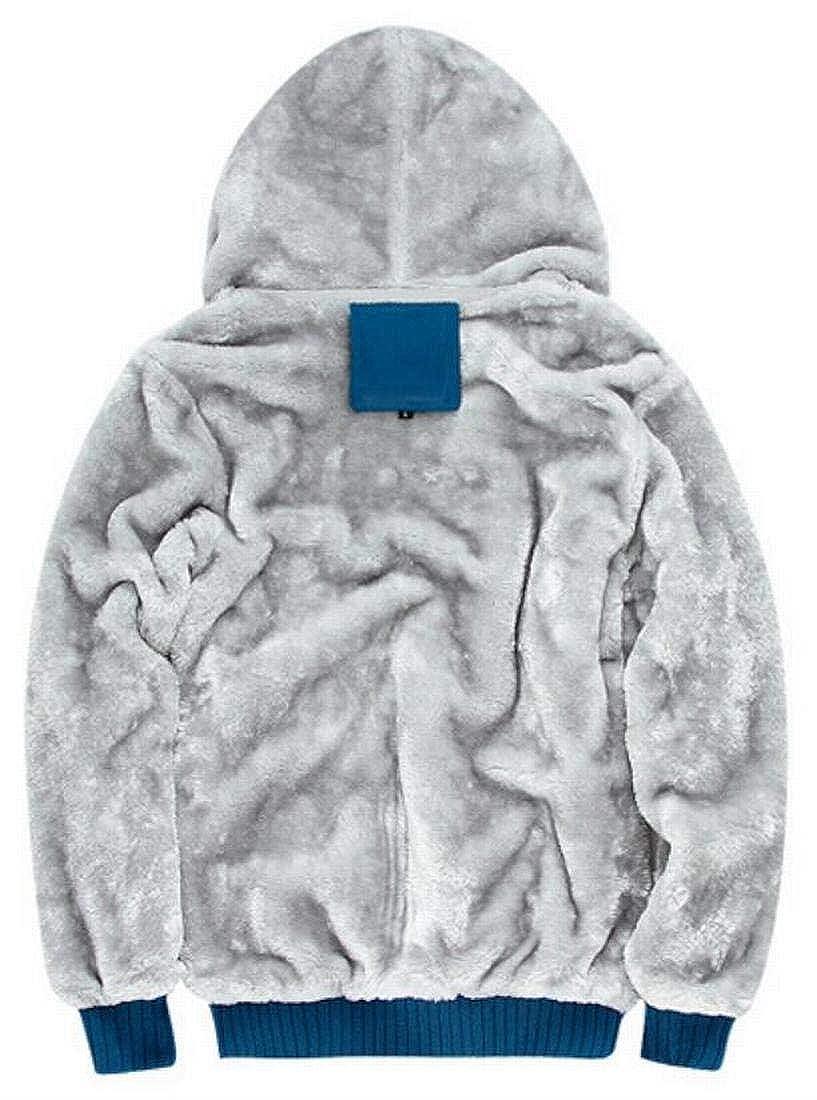 Hmarkt Mens Zipper Faux Fur Lined Thicken Winter Outwear Plain Warm Sweatshirt Jacket