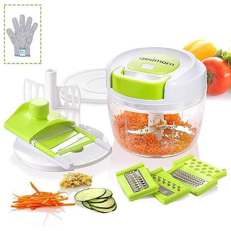 Cortador de Verduras Godmorn, Picadora Manual 3Cuchillas de Acero Inoxidable,750ml,Picadora de Alimentos para Picar Frutas,Verduras, Frutos Secos, ...