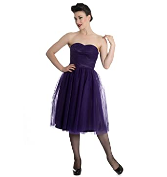Hell Bunny Strapless Party Prom Dress Goth Fairy Tamara Net Purple XS 8