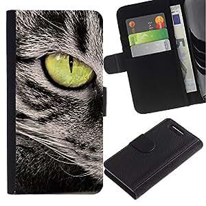 Green Eye Cat Grey American Wirehair - la tarjeta de Crédito Slots PU Funda de cuero Monedero caso cubierta de piel Sony Xperia Z3 Compact