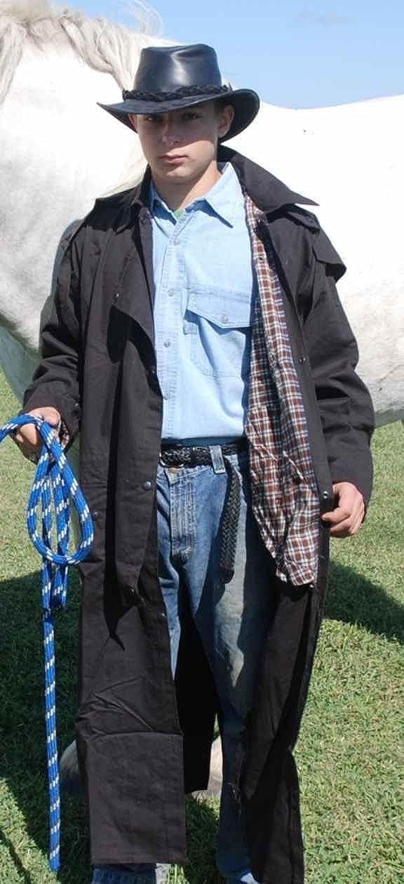 black Oilskin Egyptian cotton duster riding jacket waterproof windproof brown