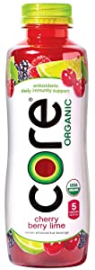 CORE Organic, Cherry Berry Lime, 18 Fl Oz (Pack of 12), Fruit Infused Beverage, Vegan/Gluten-Free, Non-GMO, Refreshing Flavored Water with Antioxidants, Great For Immunity Support