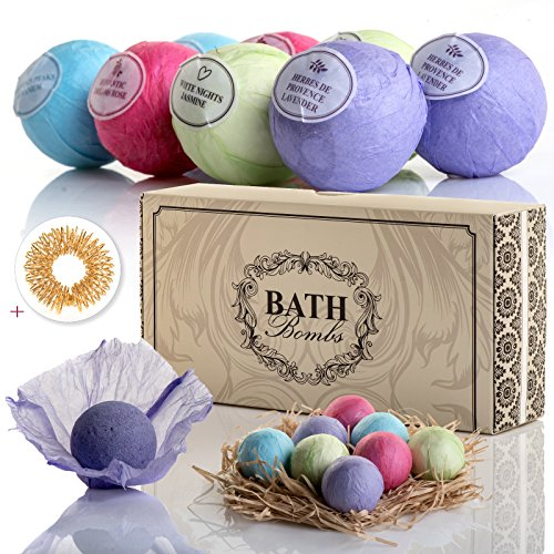 Bath Bombs Set, Fizzy Bomb, XL 3.5 Oz: Organic Home Spa Treatment for Natural Relaxation. Birthday Gifts for Wife, Mom, Grandma, Teen Girl. Anniversary Gift Sets Ideas for Her, Presents - Present Small