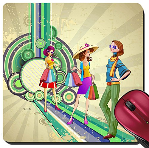 Liili Suqare Mousepad 8x8 Inch Mouse Pads/Mat IMAGE ID: 15803365 illustration of retro fashion lady with shopping - Woman Shopping Illustration