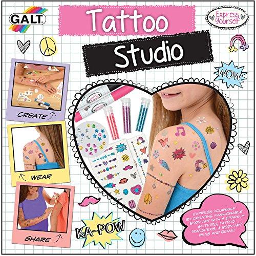 comprar online tatoo Estudio del tatuaje de Galt Incluye bolígrafos de arte corporal, sacudidores de brillo, 2 hojas de transferencias de tatuajes, 2 hojas de transferencias de tatuajes de colores, palo de gemas y una esponja Apto para niños de 8 a 12 años