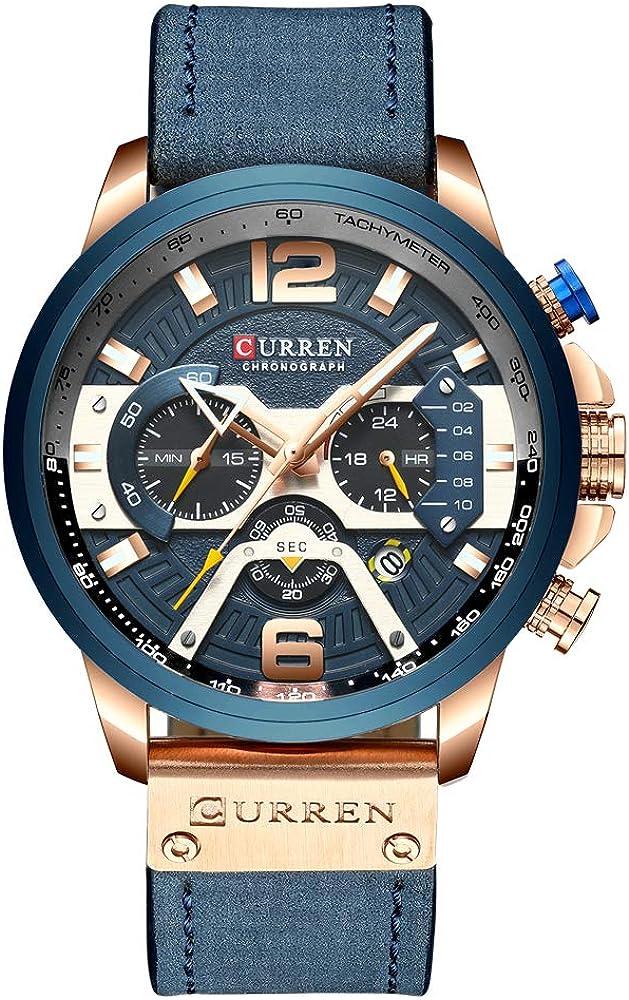 Reloj de pulsera casual deportivo para hombre, de piel, estilo militar, con cronógrafo, color azul