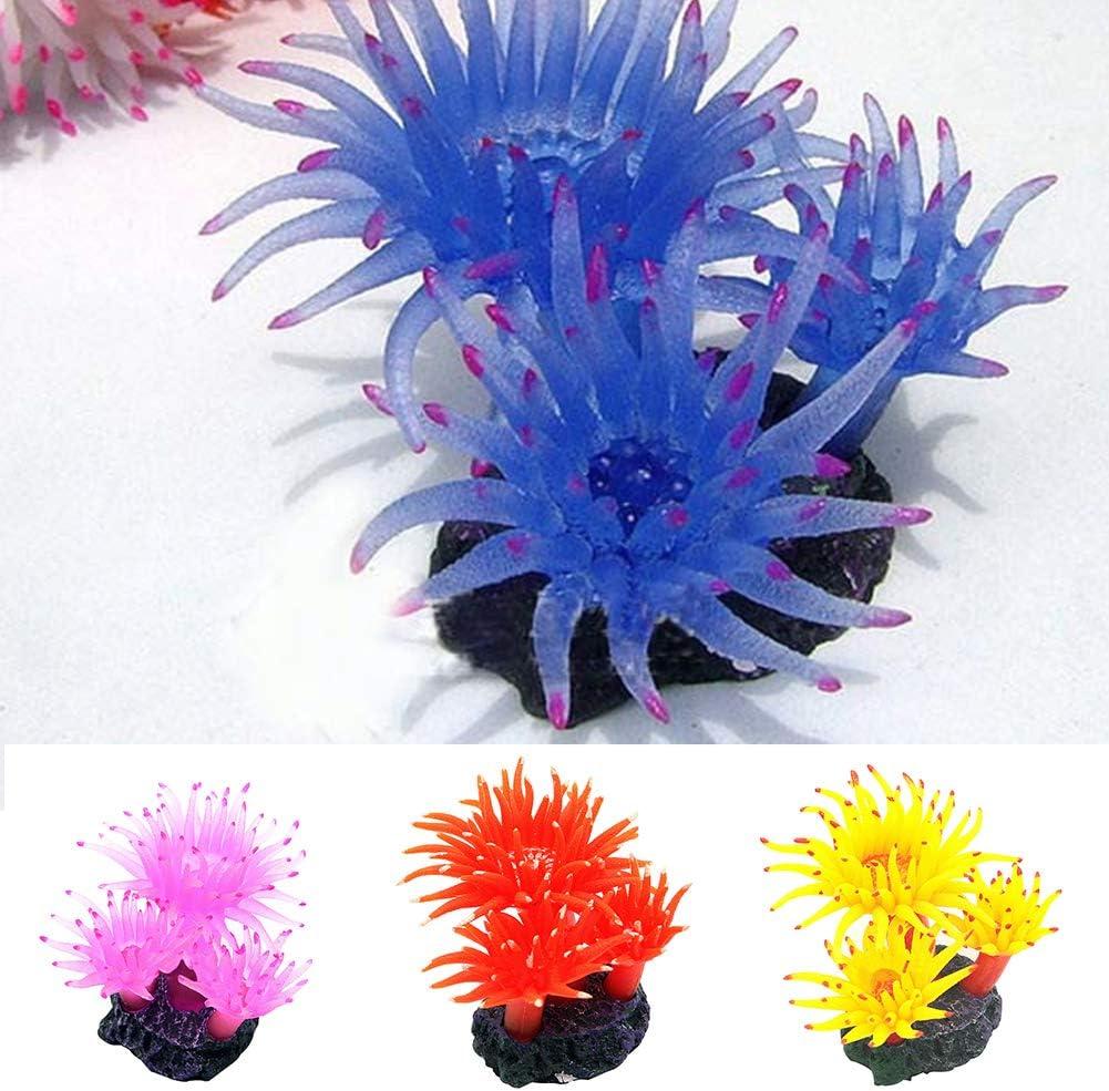 IUwnHceE Creative Artificial Coral Plant Simulation Soft Disc Coral Plant Ornament Decoration for Aquarium Fish Tank 1pc S Pink