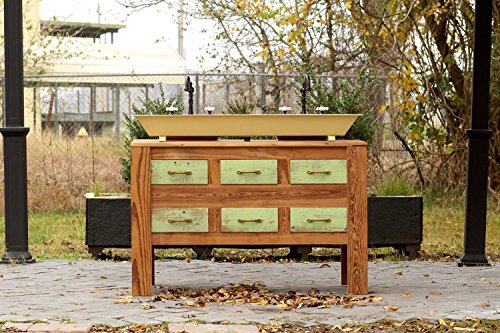 "Double Sink Chest (48"" Reclaimed Barn Wood Bath Vanity Cabinet Steel Trough Sink Apothecary Chest Double Bath Console Package)"