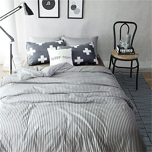 VM VOUGEMARKET 100% Cotton Duvet Cover Set King - Hotel Quality Striped Bedding Set,Pinstripe Duvet Cover with 2 Cross Pilowcases- Luxurious, Comfortable, Breathable, Soft and Durable (King,Colette) Blue Striped Duvet Cover