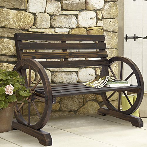 Cheap  Best Choice Products Patio Garden Wooden Wagon Wheel Bench Rustic Wood Design..