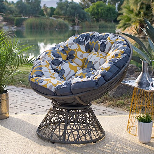 Kambree Outdoor Papasan Chair with Reversible Cushion Made w/ Resin Wicker,Metal and Polyester in Light Grey 38.2W x 33D x 36.22H in.