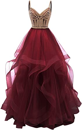 0b25980e88d Lilibridal Tulle Crystal Beaded Prom Dresses Tiered Formal Evening Dresses  Spaghetti Strap Ball Gown(Burgundye