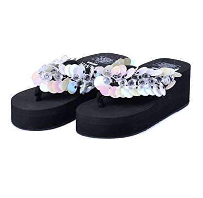 7d931524f792 AVENBER Womens Wedge Flip Flops Sandals Anti-Slip Platform Summer Beach  Thong Sequins Rhinestone Slippers