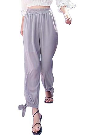 b543a480be43 Battercake Pantalon De Loisirs Femme Eté Mousseline Longues Pantalons  Élégant Casual Dame Fashion Sweathose Uni Manche Taille Élastique Bandage  Bowknot ...