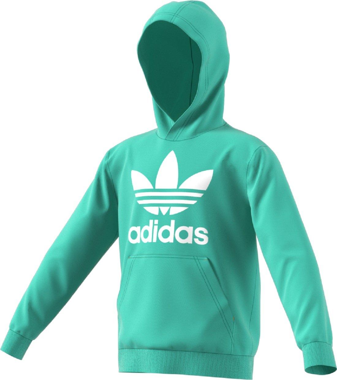 adidas Originals Kids Unisex Trefoil Hoodie (Little Kids/Big Kids) Easy Green/White X-Small