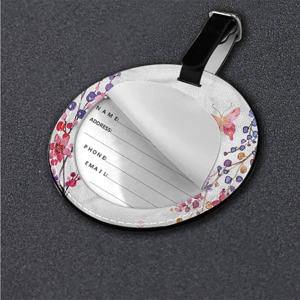 Creative Luggage Tag Butterfly,Floral Elements Leaves Good-looking