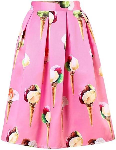 FSDFASS Faldas Moda para Mujer Helado Impreso Falda Plisada de ...