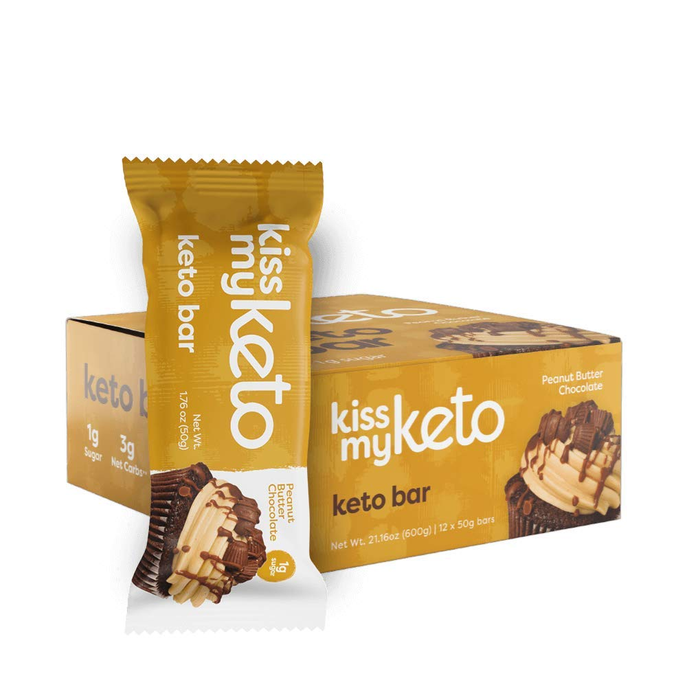 Kiss My Keto Bars — Keto Protein Bars Low Carb Low Sugar + MCT Oil | Peanut Butter, 12 Pk | Keto Snack Bars Rich in Nutritious Fats & Collagen — 9 Grams Protein, 3 Grams Net-Carbohydrate, 1 Gram Sugar