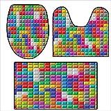 3 Piece Toilet mat Set Colorful Retro Gaming Computer Brick Blocks Image Puzzle Digital 90s Play Multicolor.3 Piece Shower Mat Set 15.7''x15''-19.6''x19.6''-31''x19.6''