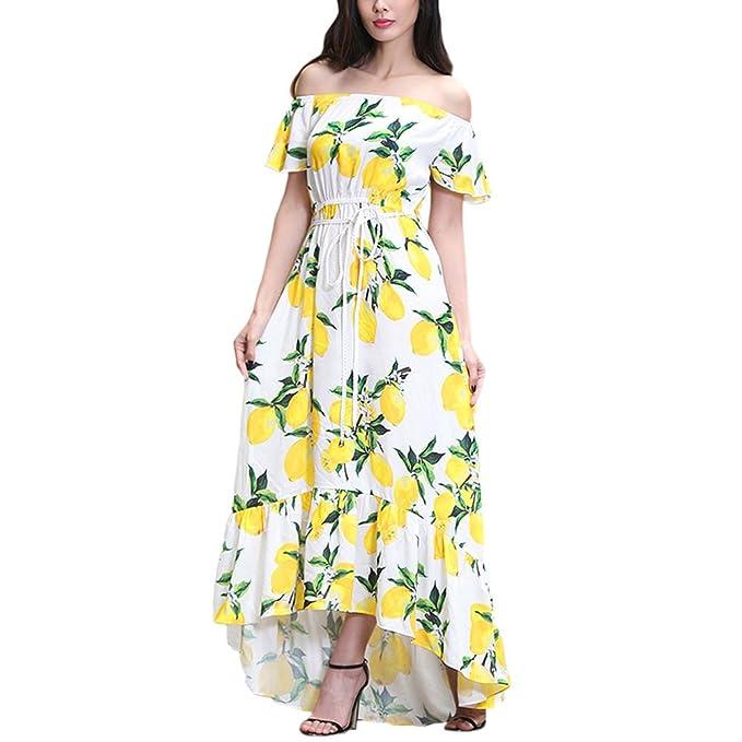 Hzjundasi Vestidos verano Apagado Hombro Vendimia Mango Patrón Impresión Casual Playa Fiesta Vestido largo