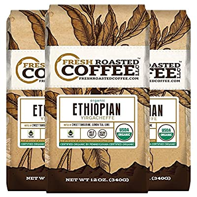 Organic Ethiopian Yirgacheffe Fair Trade Coffee, 12 oz. Ground Bags, Fresh Roasted Coffee LLC. (3 Pack)