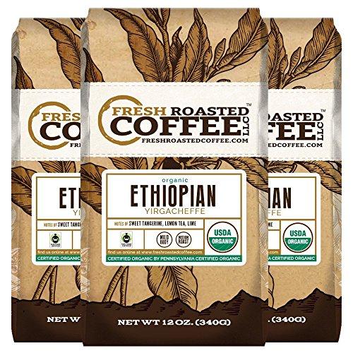 Organic Ethiopian Yirgacheffe Fair Trade Coffee, 12 oz. Ground Bags, Fresh Roasted Coffee LLC. (3 Pack)