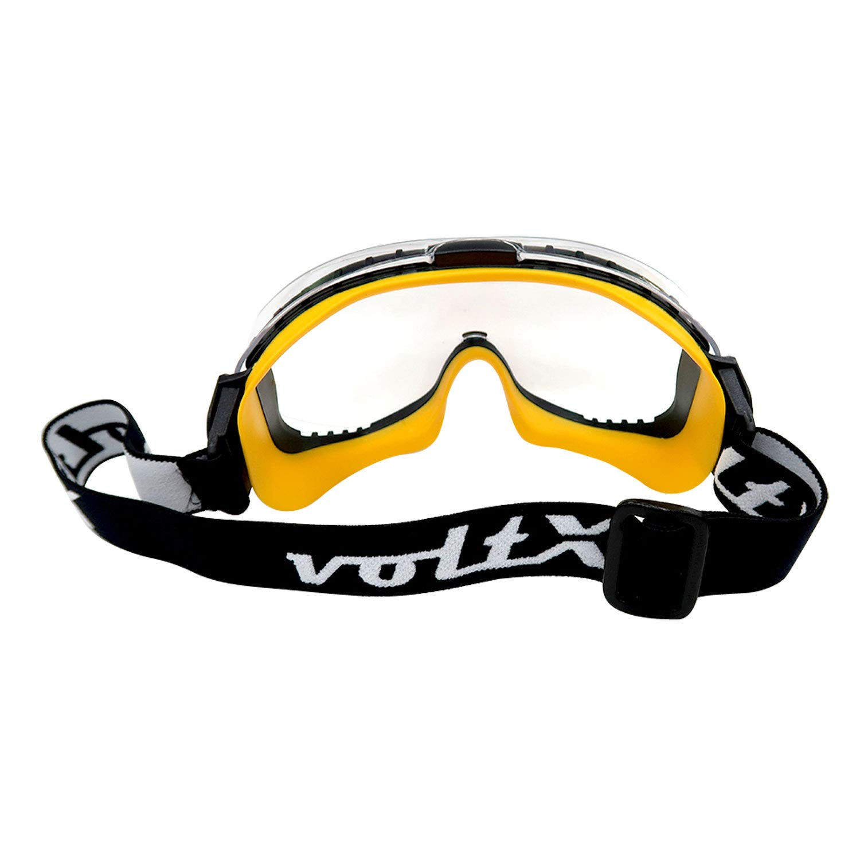 certificaci/ón EN170 lente UV400 voltX DEFENDER ULTRA Gafas de seguridad con ventilaci/ón indirecta lentes GRIS con sello de ajuste ce/ñido y hebilla con banda ajustable para la cabeza CE EN166BT