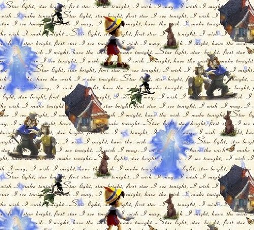 """1 Yard - Pinocchio & Jiminy Cricket """"Take a run-out powder steal a Wish - Star Light, Star Bright"""" Cotton Fabric - Officially Licensed by Thomas Kinkade (Great for Quilting, Sewing, Duplicity Projects, a Quilt, Throw Pillows & More) 1 Yard x 44"""" Wide"""