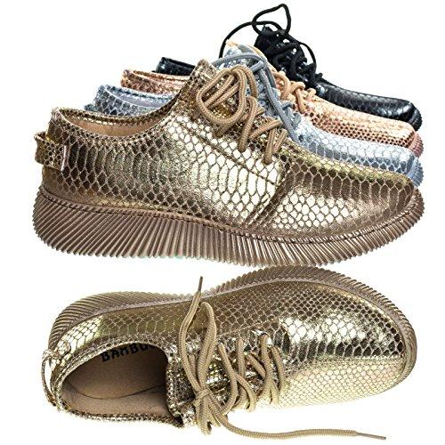 Stampe In Rilievo Di Pelle Di Serpente, Allacciatura Sneaker Con Suola A Coste Color Oro
