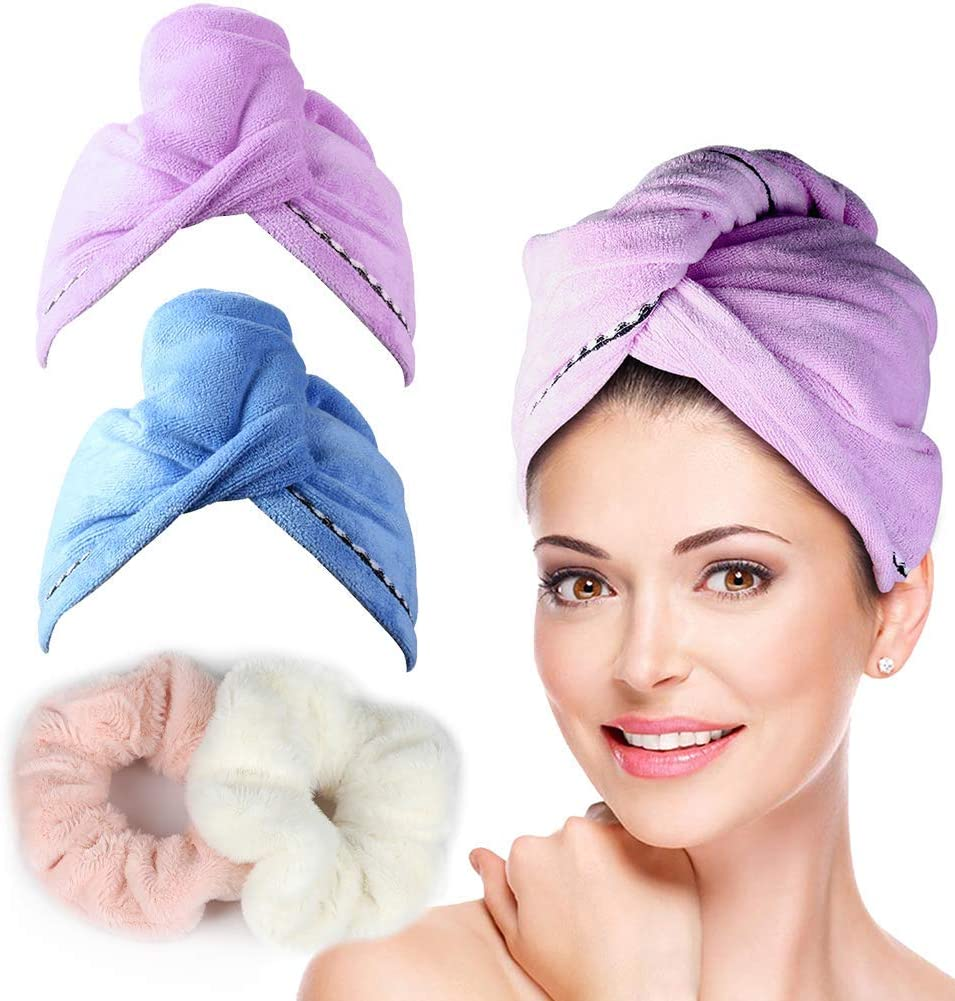 2 PCS Microfiber Hair Drying Towel Bathroom Head Hat Turban Wrap Absorbent Towel
